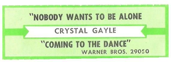 Gayle, Crystal / Nobody Wants To Be Alone | Warner Bros. 29050 | Jukebox Title Strip | February 1985