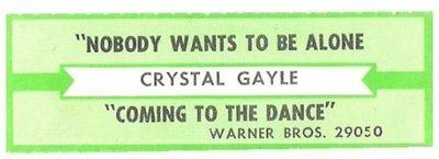 Gayle, Crystal / Nobody Wants To Be Alone | Warner Bros. 29050 | Jukebox Title Strip | February 1985