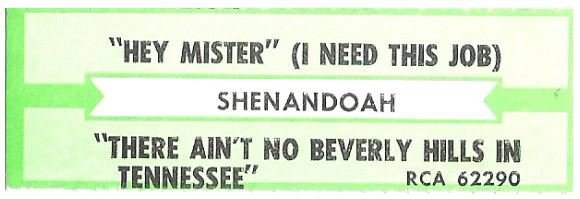 Shenandoah / Hey Mister (I Need This Job) | RCA 62290 | Jukebox Title Strip | July 1992