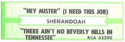 Shenandoah / Hey Mister (I Need This Job) | RCA 62290 | Jukebox Title Strip | July 1992