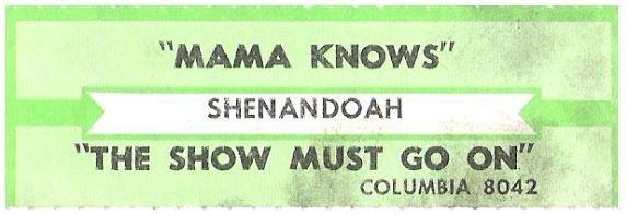 Shenandoah / Mama Knows   Columbia 8042   Jukebox Title Strip   1988