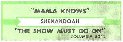 Shenandoah / Mama Knows | Columbia 8042 | Jukebox Title Strip | 1988
