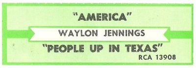 Jennings, Waylon / America | RCA 13908 | Jukebox Title Strip | September 1984