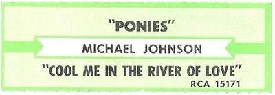 Johnson, Michael / Ponies | RCA 15171 | Jukebox Title Strip | 1987