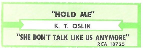 Oslin, K.T. / Hold Me | RCA 18725 | Jukebox Title Strip | 1988