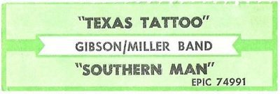 Gibson/Miller Band / Texas Tattoo | Epic 74991 | Jukebox Title Strip | May 1993