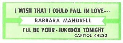 Mandrell, Barbara / I Wish That I Could Fall in Love Today | Capitol 44220 | Jukebox Title Strip | August 1988