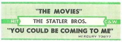 Statler Brothers, The / The Movies | Mercury 73877 | Jukebox Title Strip | January 1977 | Hit Country + Western Series