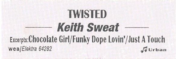 Sweat, Keith / Twisted   Elektra 64282   Jukebox Title Strip   July 1996