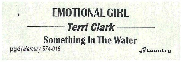 Clark, Terri / Emotional Girl | Mercury 574-016 | Jukebox Title Strip | January 1997