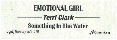 Clark, Terri / Emotional Girl | Mercury 574-016 | Jukebox Title Strip | January 1997