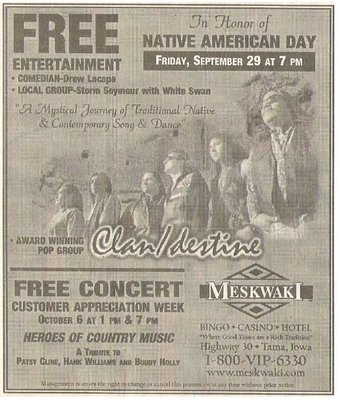 Clandestine / In Honor of Native American Day | Newspaper Ad | September 2000