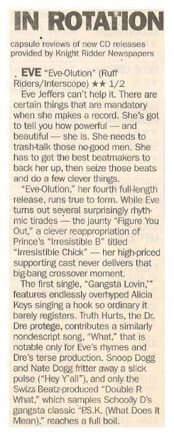 Eve / Eve-Olution - Eve Jeffers Can't Help It | Newspaper Review | September 2002