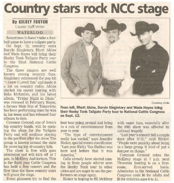 Akins, Rhett / Country Stars Rock NCC Stage | Newspaper Article with Photo | September 2002 | with Daryle Singletary + Wade Hayes