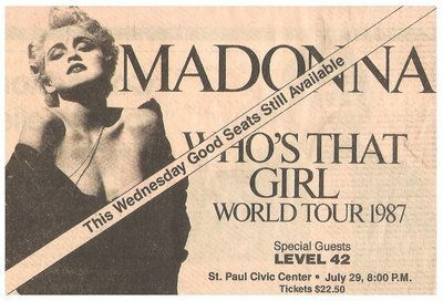 Madonna / Who's That Girl World Tour 1987 - St. Paul Civic Center | Newspaper Ad | July 1987