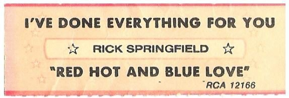 Springfield, Rick / I've Done Everything For You   RCA 12166   Jukebox Title Strip   February 1981