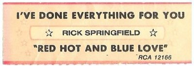 Springfield, Rick / I've Done Everything For You | RCA 12166 | Jukebox Title Strip | February 1981