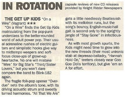 Get Up Kids, The / On a Wire - Pop-Funk Underclass   Newspaper Review   May 2002