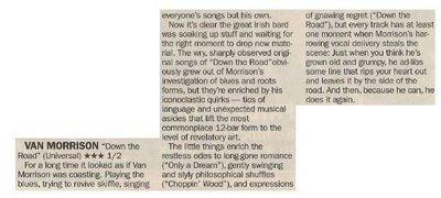 Morrison, Van / Down the Road - Great Irish Bard   Newspaper Review   May 2002