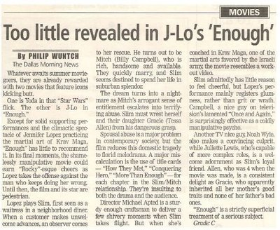 Lopez, Jennifer / Too Little Revealed in J-Lo's 'Enough'   Newspaper Review   May 2002