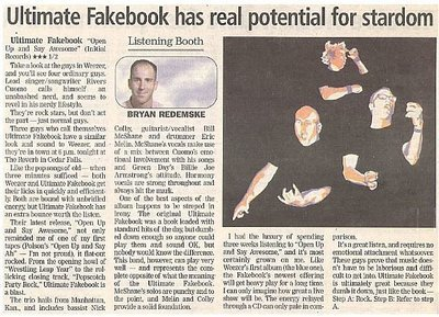 Ultimate Fakebook / Ultimate Fakebook Has Real Potential for Stardom   Newspaper Review   May 2002