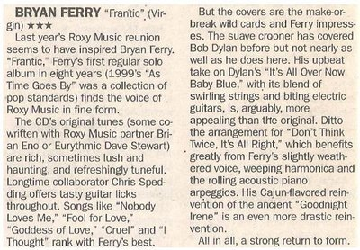 Ferry, Bryan / Frantic - First Regular Solo Album in Eight Years   Newspaper Review   May 2002