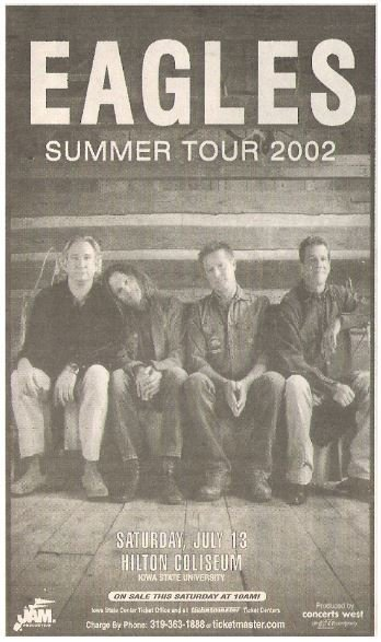 Eagles / Summer Tour 2002 - Iowa State University | Newspaper Ad | July 13, 2002