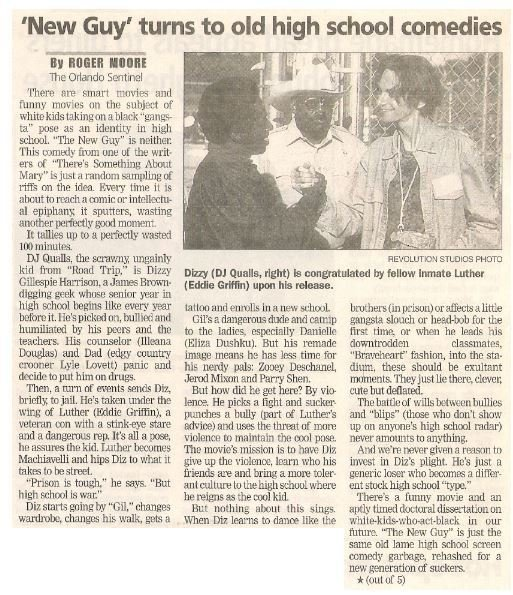 Qualls, DJ / 'New Guy' Turns to Old High School Comedies | Newspaper Article with Photo | May 2002