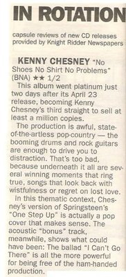 Chesney, Kenny / No Shirt No Shoes No Problems - In Rotation   Newspaper Review   May 2002