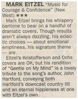 Eitzel, Mark / Music for Courage + Confidence   Newspaper Review   May 2002