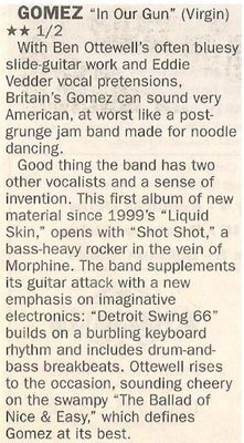 Gomez / In Our Gun   Newspaper Review   May 2002