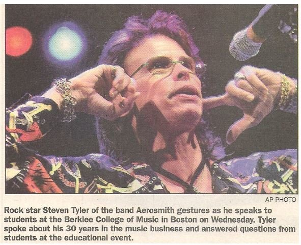 Tyler, Steven / Berklee College of Music - Boston | Newspaper Photo with Caption | May 2002