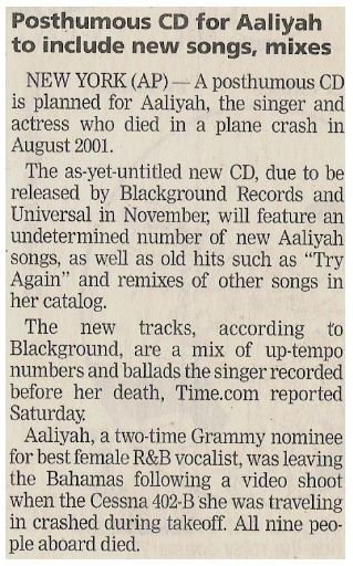Aaliyah / Posthumous CD for Aaliyah to Include New Songs, Mixes | Newspaper Article | October 2002