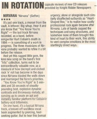 Nirvana / Nirvana - In Rotation   Newspaper Review   October 2002