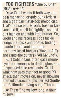 Foo Fighters / One By One - Dave Grohl Wants it Both Ways   Newspaper Review   October 2002