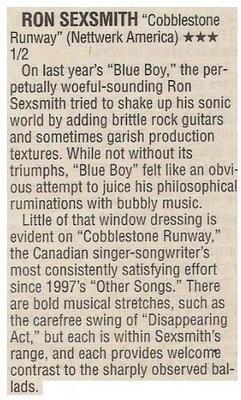 Sexsmith, Ron / Cobblestone Runway - Satisfying Effort   Newspaper Review   October 2002