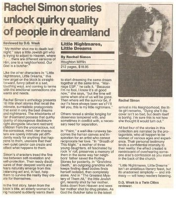 Simon, Rachel / Little Nightmares, Little Dreams   Newspaper Review   September 1990