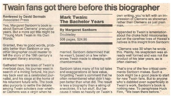 Sanborn, Margaret / Mark Twain: The Bachelor Years | Newspaper Review | September 1990