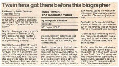 Sanborn, Margaret / Mark Twain: The Bachelor Years   Newspaper Review   September 1990