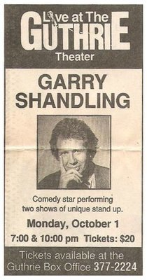 Shandling, Garry / Live at the Guthrie Theater | Newspaper Ad | October 1990