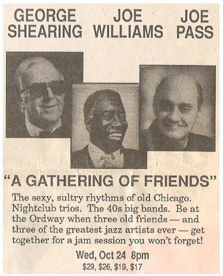 Shearing, George / The Ordway - St. Paul, MN | Newspaper Ad | October 1990 | with Joe Williams and Joe Pass
