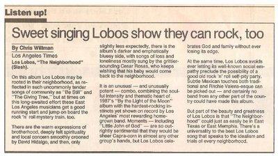 Los Lobos / The Neighborhood - Sweet Singing Lobos Show They Can Rock, Too   Newspaper Review   September 1990