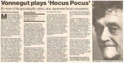 Vonnegut, Kurt / Vonnegut Plays 'Hocus Pocus'   Newspaper Review with Photo   September 1990