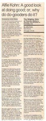 Kohn, Alfie / The Brighter Side of Human Nature   Newspaper Review   September 1990