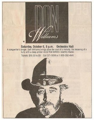 Williams, Don / Orchestra Hall - Minneapolis, MN | Newspaper Ad | October 1990
