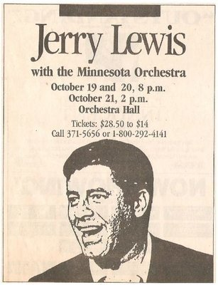 Lewis, Jerry / Orchestra Hall - Minneapolis, MN | Newspaper Ad | October 1990