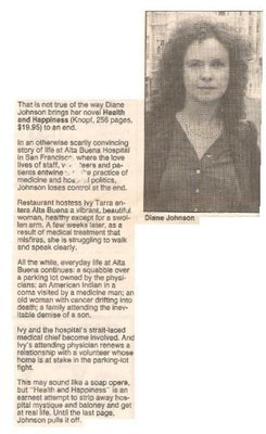 Johnson, Diane / Health and Happiness   Newspaper Review   September 1990