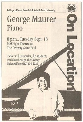 Maurer, George / McKnight Theatre at The Ordway - St. Paul, MN | Newspaper Ad | September 1990