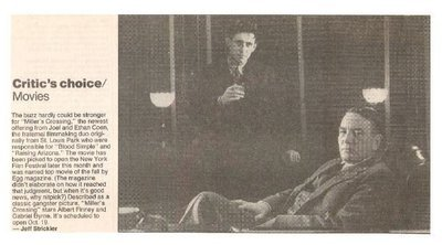 Finney, Albert / Miller's Crossing   Newspaper Review with Photo   September 1990   with Gabriel Byrne