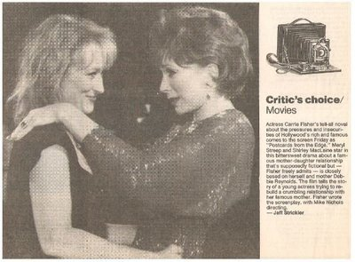 MacLaine, Shirley / Postcards From the Edge   Newspaper Review with Photo   September 1990   with Meryl Streep